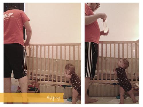 Gates' Helping Adjust Her Crib