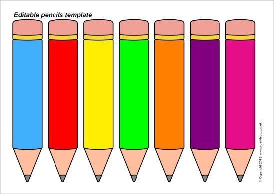 Editable pencils template (SB7898) - SparkleBox | operaciones ...