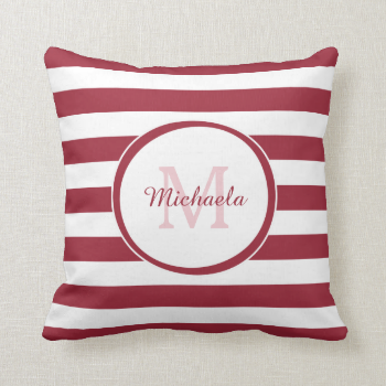 Trendy Red and White Stripes Monogram and Name Throw Pillows