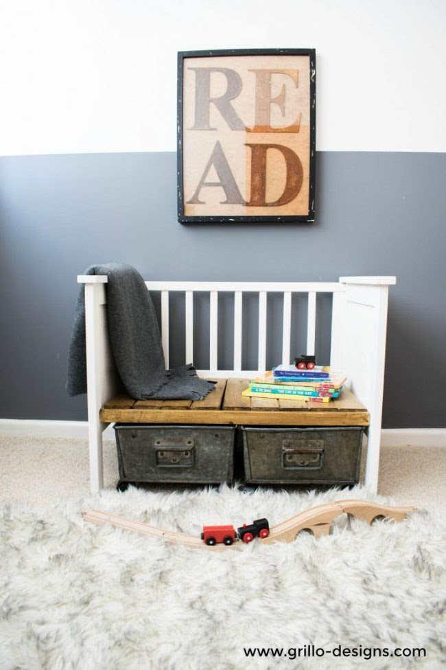 repurposed crib bench