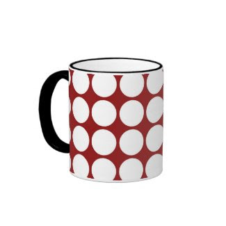 White Polka Dots on Red Mug