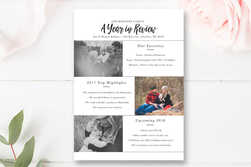 Year In Review Christmas Card Template 5x7 Photo Card By