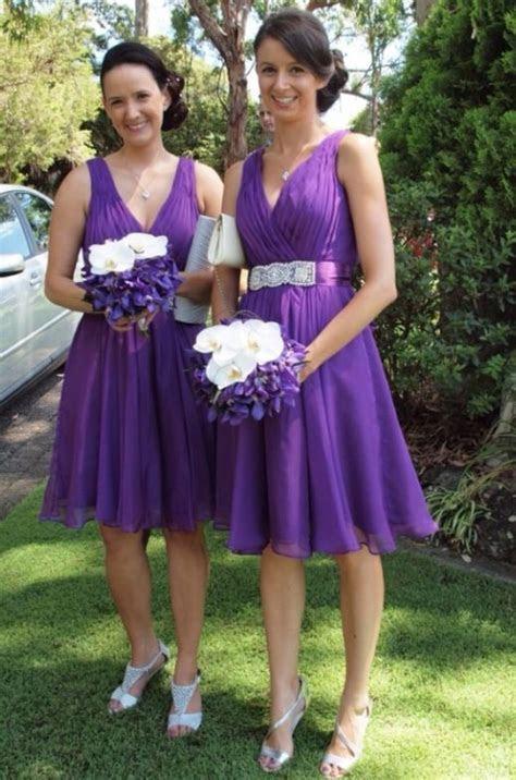 Orchid purple short bridesmaid dresses. Cocktail length