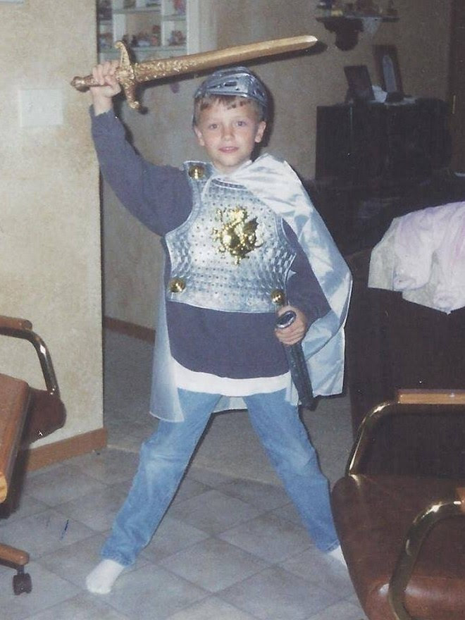 Brady Folkens little boy with sword
