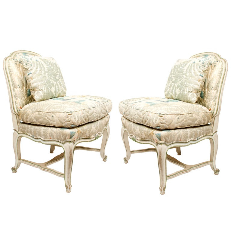A Pair of Hand Carved French Louis XV Style Slipper Chairs at 1stdibs