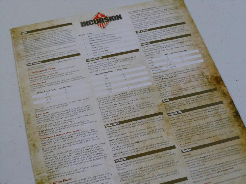 Incursion reference card