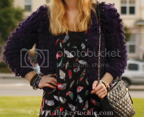 looped knit shaggy sweater, feather print top, California fashion blog