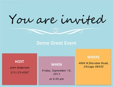 Who When Where Invitation design