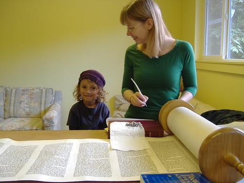 Shalem Lev Helping Soferet Fix Sefer Torah