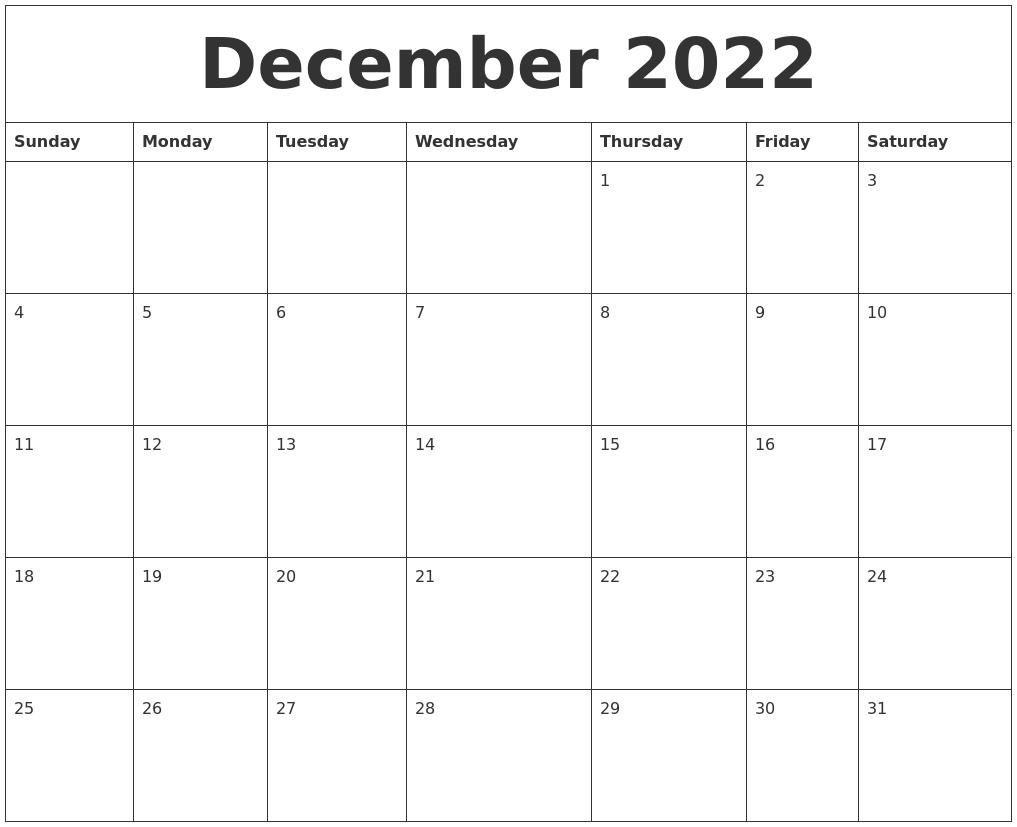 december 2022 free weekly calendar full weekday