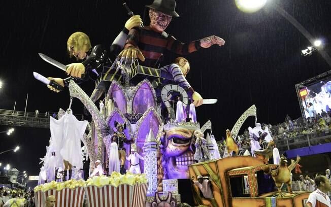 Freddy Krueger em carro alegórico da Dragões da Real - primeira noite de desfiles em SP. Foto: Divulgação/SPTuris