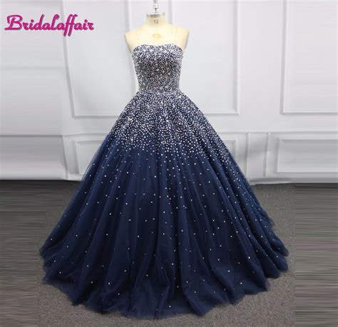Navy Blue Luxury Beading Big Ball Gown Wedding Dress Photo