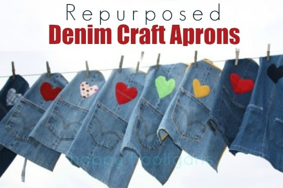 denim craft aprons hanging on clothesline