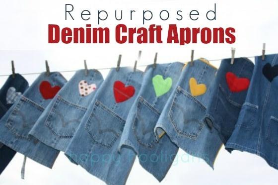 denim craft aprons hanging on clothesline