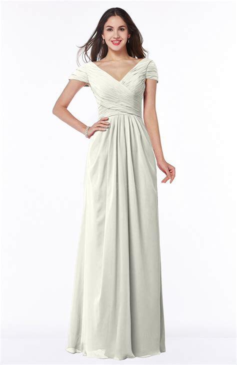 Ivory Modest Short Sleeve Chiffon Floor Length Ruching