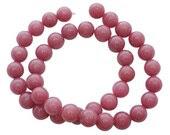 8mm Pink Opal Round Jade Beads, half strand