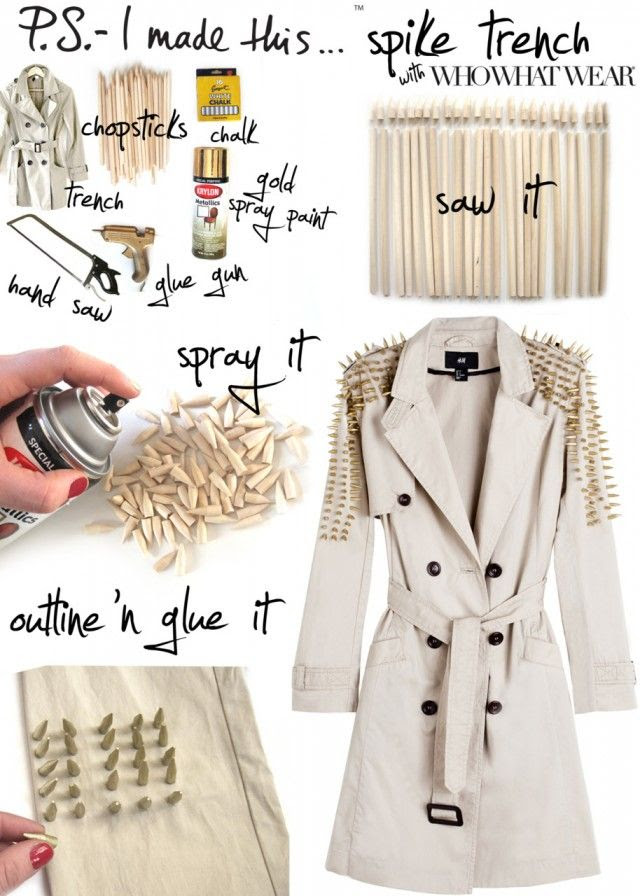 DIY spike military Trench coat refashion -  check out my other #fallfashion pins as guest pinner on @FaveCrafts  this month!