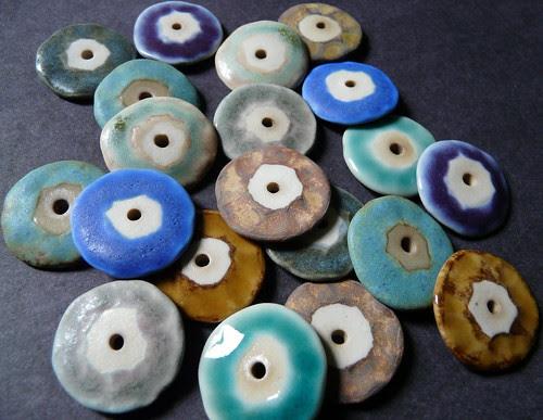 Flat Disc Porcelain Beads