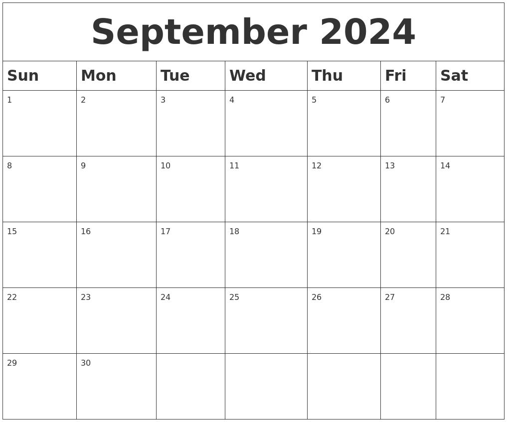 september 2024 blank calendar