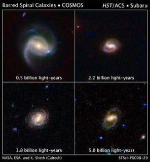 Cuatro galaxias barradas del estudio COSMOS
