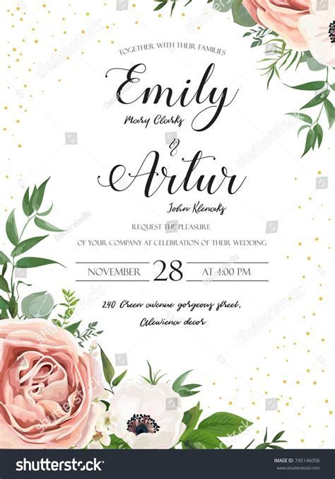 Wedding floral invite invitation card design: Rose pink