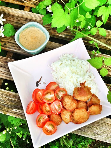 tzay skewers with peanut sauce