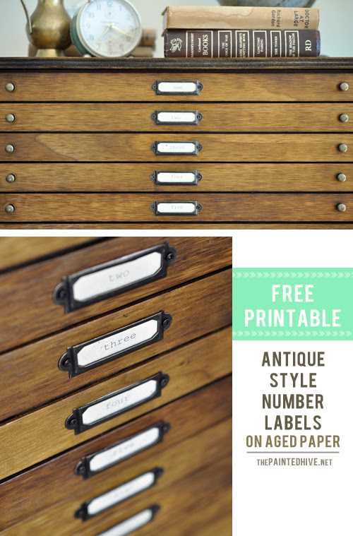 Antique Style Label Holder Free Printable | The Painted Hive