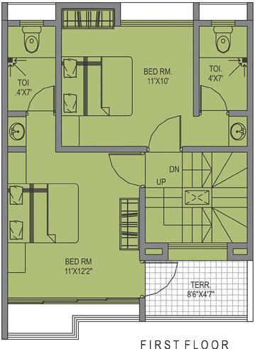 Leela Greens Talegaon A Type 2 BHK Row House 1st Floor