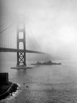 USS San Francisco (CA-38) entering San Francis...