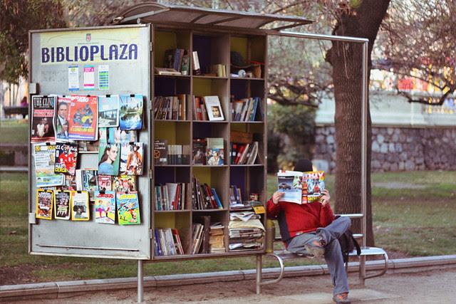 Caballero y librería