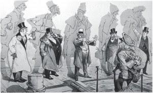 Οι πετυχημένοι (πίσω οι ίσκιοι τους απεικονίζουν τους ίδιους όταν έφθαναν στις ΗΠΑ) διώχνουν τους φτωχούς νεόφερτους (αμερικανικό σκίτσο της εποχής από το λεύκωμα «Οπου γη Ελλάδα...»). ΕΘΝΟΣ 20.2.2010
