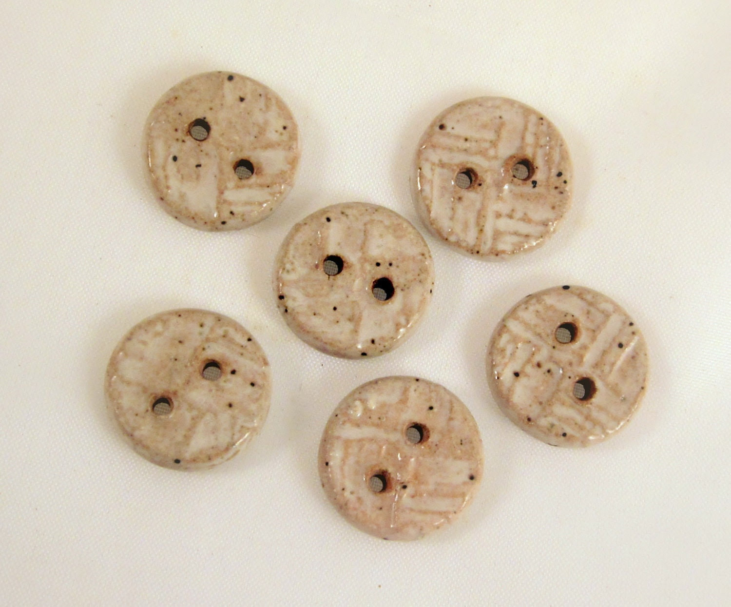 Set of 6 Small Round Handmade Clay Pottery Buttons - Weave Design - Cream