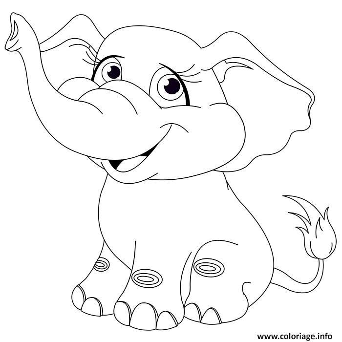 Coloriage Animaux Mignon Elephanteau Bebe Elephant Jecoloriecom