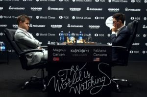 Carlsen and Caruana during game two.