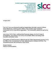Scottish Legal Complaints Commission - Eileen Masterman steps down  as Chief  Executive 19 April 2010