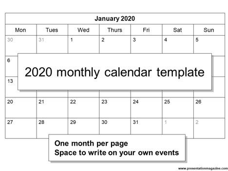 Calendar 2020 Template Uk