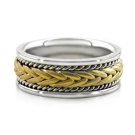 14K TWO TONE WHITE YELLOW GOLD MEN'S BRAIDED WEDDING BAND