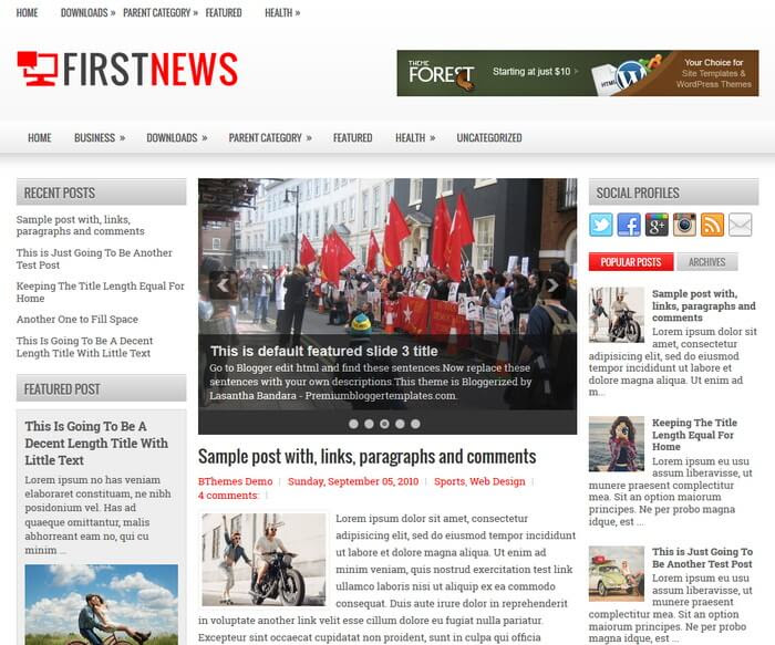 FirstNews Blogger Template