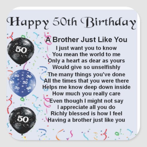 Brother Poem 50th Birthday Square Sticker