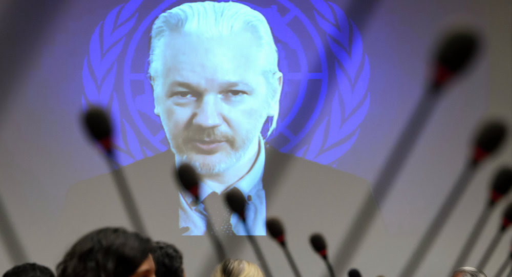 WikiLeaks founder Julian Assange is seen on a screen speaking via web cast from the Ecuadorian Embassy in London during an event on the sideline of the United Nations (UN) Human Rights Council session