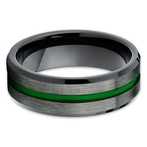 Green Tungsten Wedding Band   Gunmetal   Tungsten Wedding