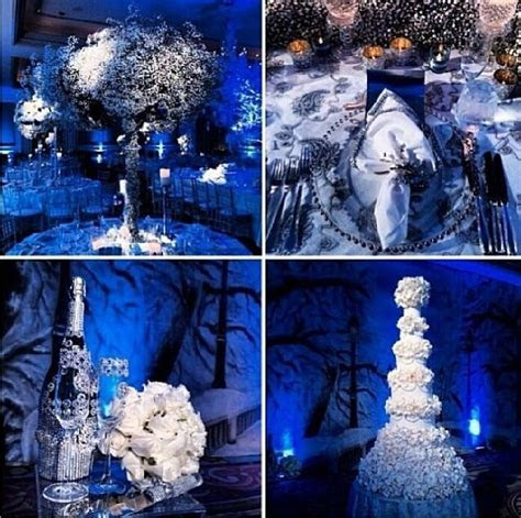 blue silver white wedding decorations   Blue and white