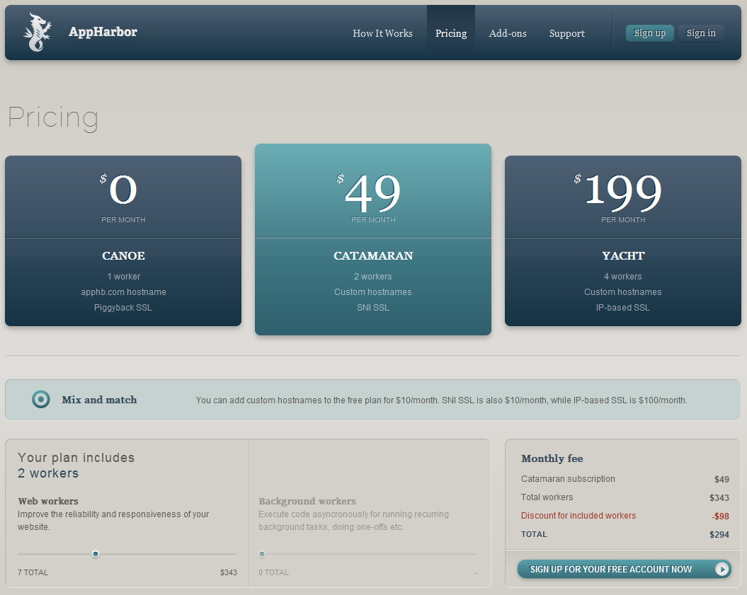Pricing page