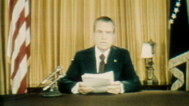President Richard Nixon addresses the cameras in 1973