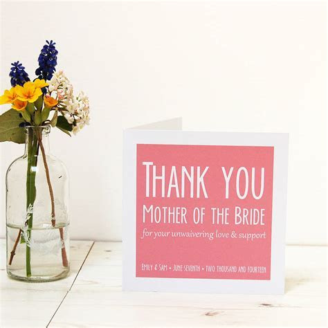 personalised wedding parents thank you card by spotty n