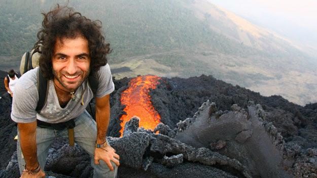 Man at top of Volcán de Pacaya