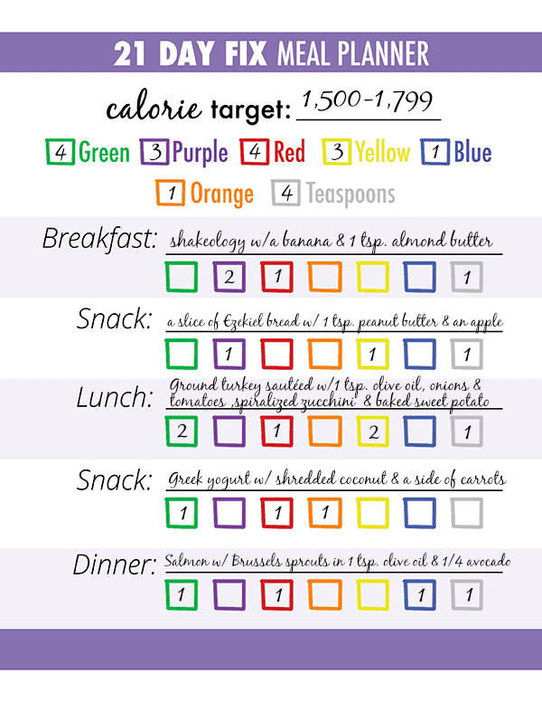 21 day fix meal planner