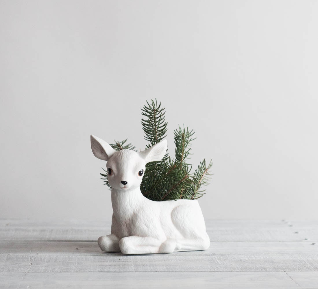 Vintage White Deer Planter / Porcelain Fawn Planter