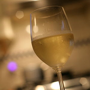 Cold French wine Chablis made from Chardonnay