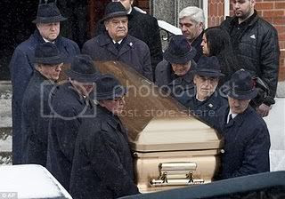 The body of NIck Rizzuto, the son of Reputed Mafia Godfather Vito Rizzuto, is carried from church at his funeral.